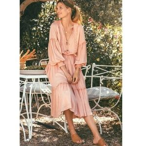 Spell | Blush Clementine Soirée Midi Dress - M